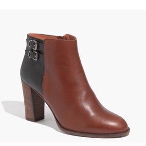Madewell Reid Black and Tan heeled boot